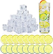50 Pieces Fake Ice Cubes and Artificial Lemon