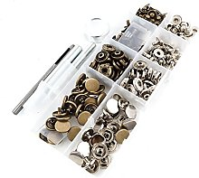 50 Poppers Silver and Bronze 12.5mm Snap Fastener