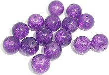 50 Purple Crackle Glass Beads 10mm Jewellery