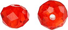 50 Red Faceted Crystal Glass Rondelle Beads - 8mm
