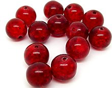 50 Red Glass Crackle Beads 10mm Jewellery Making