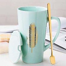 500ml Ceramic Coffee Mug with Lid Spoon Coffee Cup