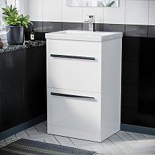 500mm Floor Standing Cabinet 2 Drawer Gloss White
