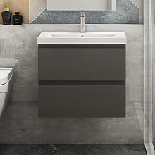500mm Grey Floating Bathroom Wall Basin Cabinet