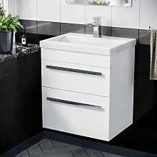 500mm Wall Hung 2 Drawer Vanity Unit Cabinet with
