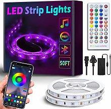 50Ft/15M Bluetooth LED Strip Lights - Music Sync