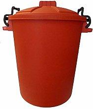 50L PLASTIC HANDLE RED Garden Storage Dustbin Bin