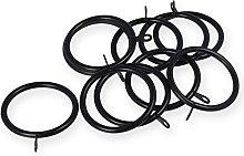 50mm Black Curtain Rod Eyelet Rings - Pack Of 20