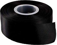50mm Satin Ribbon Black in 22-25 Meters Full roll