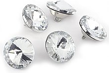 50Pcs Clear Crystal Buttons Upholstery Rhinestone