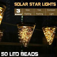 50pcs LED Beads Solar LED Lights Cone Jar Fairies