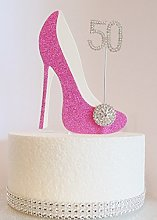 50th Birthday Cake Decoration Pink Shoe with
