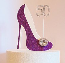 50th Birthday Cake Decoration Purple Shoe with