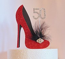 50th Birthday Cake Decoration Red and Black Shoe