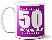 50TH Birthday F**King Hell Purple - White 15oz