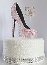 50th Pink and Black Birthday Cake Decoration Shoe