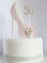 50th Pink and White Birthday Cake Decoration Shoe