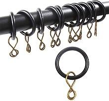 50x Black Metal Curtain Rings To Fit 20mm Poles -