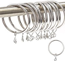 50x Silver Nickel Metal Curtain Rings - Large 42mm