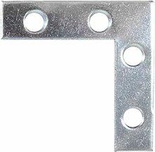 50x Steel Corner Plates 50mm x 50mm x 13mm Zinc