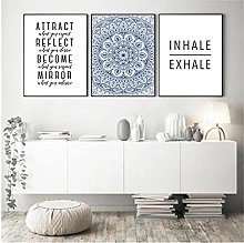 50x70cm x3 Pieces NO Frame Blue Mandala Abstract
