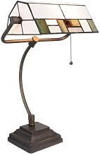 5194 desk lamp, glass lampshade, white and green