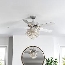 52' Chrome Chandelier Ceiling Fan LED Light 5