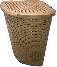 52L Large Rattan Plastic Corner Laundry Bin