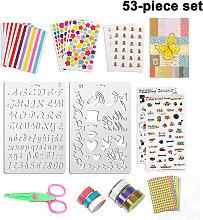 53 Piece Scrapbooking Accessory Set, Craft Accessories Sticker Stickers / Photo Corners / Metallic Pens / Dies / Lace Ribbon, Scrapbook Scrapbooking Accessories