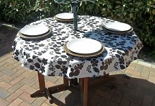 "55"" ROUND PVC/VINYL TABLECLOTH - BLACK & WHITE"