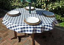 "55"" ROUND PVC/VINYL TABLECLOTH - BLUE GINGHAM"