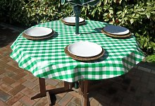 "55"" ROUND PVC/VINYL TABLECLOTH - GREEN GINGHAM"