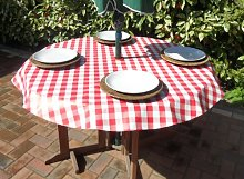 "55"" ROUND PVC/VINYL TABLECLOTH - RED GINGHAM"