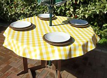"55"" ROUND PVC/VINYL TABLECLOTH - YELLOW"
