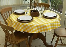 "55"" ROUND PVC/VINYL TABLECLOTH - YELLOW GINGHAM"