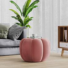55CM Fabric Pumpkin Shape Footstool, Pink