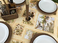 "55x55"" SQUARE PVC/VINYL TABLECLOTH - BROWN"