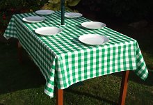 "55x78"" RECTANGLE PVC/VINYL TABLECLOTH - GREEN"