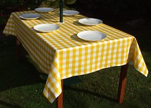 "55x78"" RECTANGLE PVC/VINYL TABLECLOTH - YELLOW"