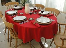 "55x78"" RED OVAL TABLECLOTH (6 SEATER)"