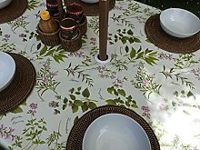 "55x98"" OVAL PVC/VINYL TABLECLOTH - HERB GARDEN"