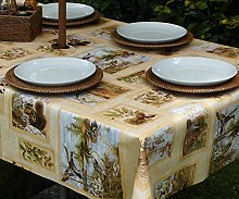 "55x98"" RECTANGLE PVC/VINYL TABLECLOTH - BROWN"