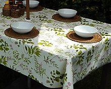 "55x98"" RECTANGLE PVC/VINYL TABLECLOTH - HERB"