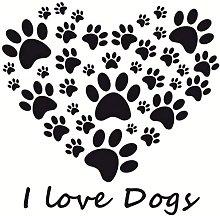 58X60Cm I Love Dogs Paw Print He DIY Home Decor