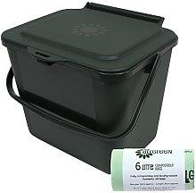 5L Green Kitchen Compost Caddy/Food Bin & 50x 6L