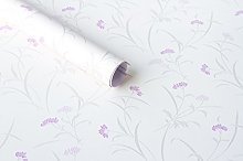 5M Shabby Chic Purple Floral Wallpaper Sticky Back