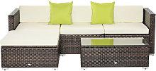 5PC Rattan Furniture Set Garden Sectional Wicker