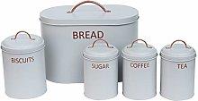 5PC Round Kitchen Storage Set: Bread Bin, Biscuit