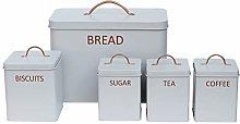 5PC Square Kitchen Storage Set: Bread Bin, Biscuit