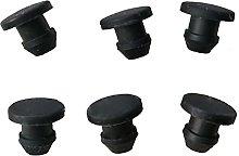 5pcs Black Solid Silicone Rubber Caps T Type Plug